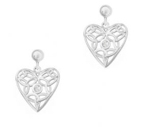 Celtic Knotwork Silver Heart Earrings with Cubic Zirconia 9422